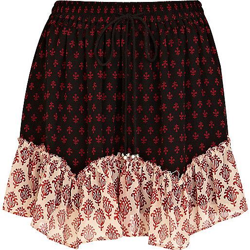 Black contrast trim printed mini skirt