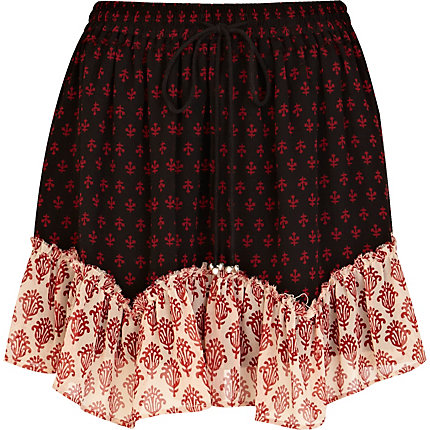 Black contrast trim printed mini skirt