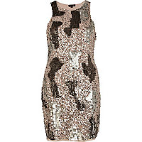 Bronze sequin mini dress