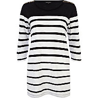 Black stripe eyelet shoulder tunic