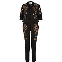 Black oriental dragon print boiler suit