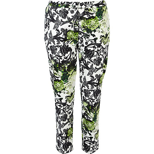 Green floral print cigarette trousers
