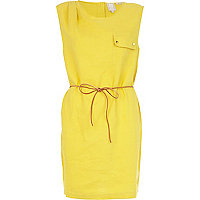 Yellow linen sleeveless swing dress