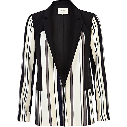 Black and white stripe panel blazer