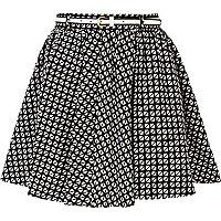 Black and white geometric print skater skirt