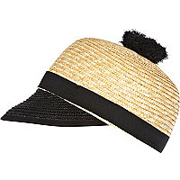 Cream raffia two-tone Captain's hat