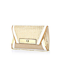 Gold contrast woven panel envelope clutch bag