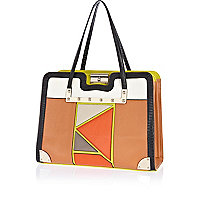 Brown patchwork front tote bag