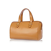 Peach structured leather bowler bag