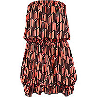 Red print bandeau dress