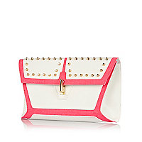White colour block studded clutch bag