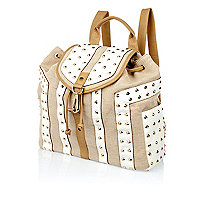 White studded contrast panel rucksack