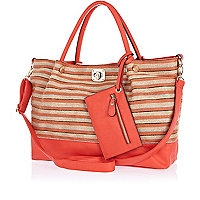 Red striped woven beach bag