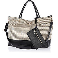 Black woven beach bag