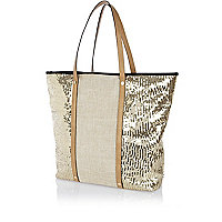 Gold sequin panel beach bag