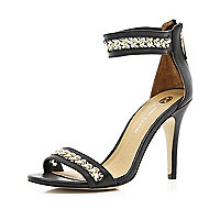 Black chain strap barely there sandals