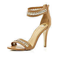 Brown chain strap barely there sandals