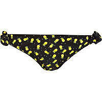 Black pineapple print bikini bottoms
