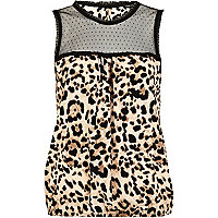 Brown leopard print sleeveless top