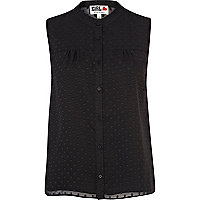 Black Chelsea Girl polka dot sleeveless shirt