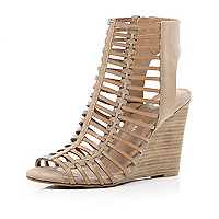 Beige caged cut out wedges