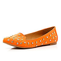 Orange skull studded slipper shoes