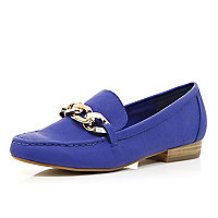 Bright blue chain front loafers
