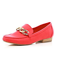Bright orange chain front loafers
