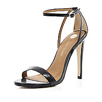 Black barely there stiletto sandals