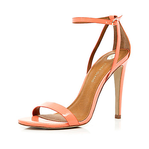 Coral barely there stiletto sandals