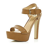 Brown chunky strap platform sandals