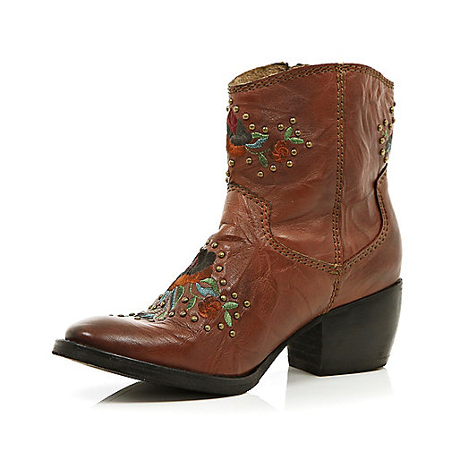 Brown floral studded western ankle boots