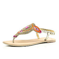 Pink metallic beaded toe post sandals