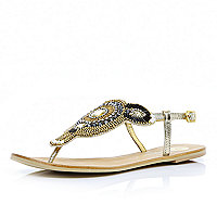 Silver metallic beaded toe post sandals