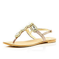 Pink metallic jewel toe post sandals