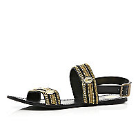 Black bead embellished chunky strap sandals