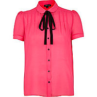 Bright pink contrast bow dolly blouse