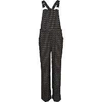 Black and white polka dot smart dungarees