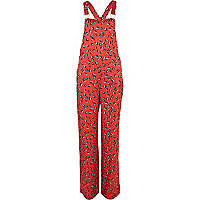 Red floral print smart dungarees