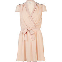 Pink cap sleeve embellished wrap front dress