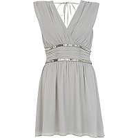Grey embellished ruched waist dress