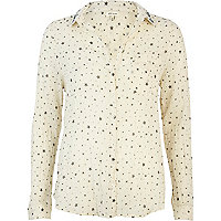 Cream star print embellished collar shirt