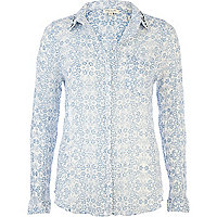 Blue floral print embellished collar shirt
