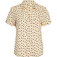 Cream strawberry print boxy shirt