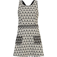 Black and white printed pinafore dress