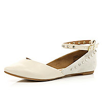 White diamante ankle strap ballet pumps