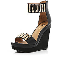 Black metal plate embellished strap wedges