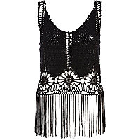 Black crochet fringed crop top