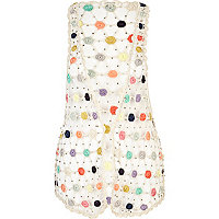 White multicoloured crochet circle waistcoat