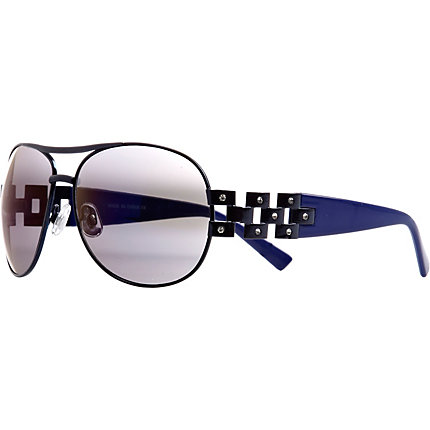 Navy diamante embellished aviator sunglasses